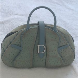 Dior blue ostrich leather purse